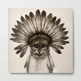 Owl Cheif Metal Print