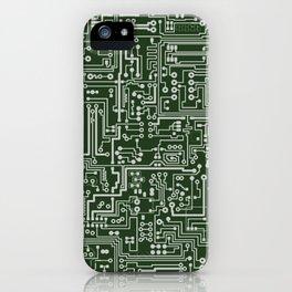 Circuit Board // Green & Silver iPhone Case