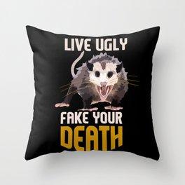 Live Ugly Fake Your Death Retro Opossum Throw Pillow