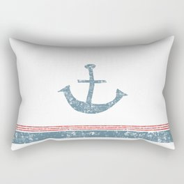 Maritime Design- Nautic Anchor on stripes in blue and red Rectangular Pillow