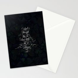 And though she be but little she is fierce (Dark Gothic Leaves) Stationery Cards