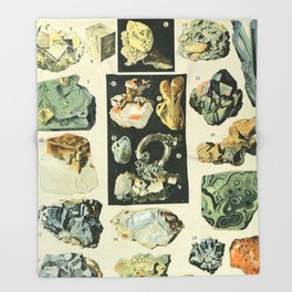 Vintage Minerals Chart Throw Blanket