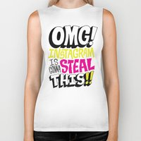instagram Biker Tanks featuring OMG! INSTAGRAM! by Chris Piascik