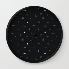 Southwestern Symbolic Pattern in Black & Cream Wall Clock