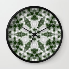 Green and White Kaleidoscope 2 Wall Clock