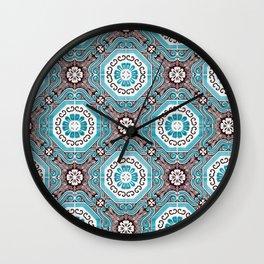 Portuguese Tiles Azulejos Aquamarine Black White Pattern Wall Clock