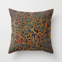 antique Throw Pillows featuring ANTIQUE PATTERN by Klara Acel