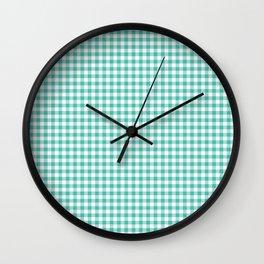 Modern green white checker picnic stripes pattern Wall Clock