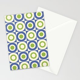 Mid Century Square and Circle Pattern 541 Blue and Green Stationery Cards