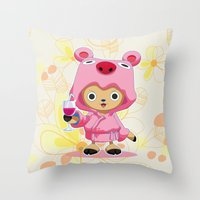one piece Throw Pillows featuring One Piece: TonyTony Chopper by Neo Crystal Tokyo