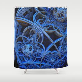 Fractal in Blues Shower Curtain