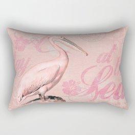 Retro Pelican Vintage Style Illustration Rectangular Pillow