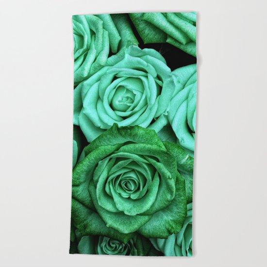 Sea Green Roses Beach Towel