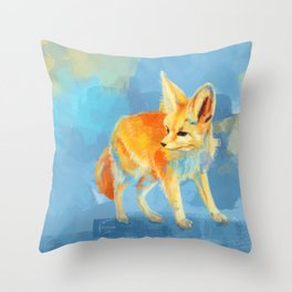 Sound of the Desert - Fennec Fox digital painting Throw Pillow