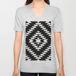Urban Tribal Pattern No.14 - Aztec - Black Concrete Unisex V-Neck