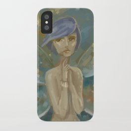 Fantasy Blue Hair Moth iPhone Case