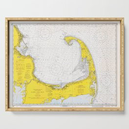 Vintage Map of Cape Cod (1971) Serving Tray