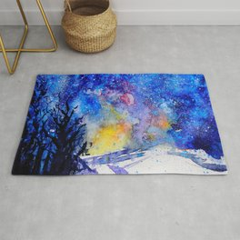 Midnight Galaxy Road watercolour by CheyAnne Sexton Rug