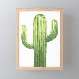 Simple Green Cactus on White Framed Mini Art Print