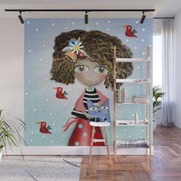 Art Doll - Kids Decor - Cat Winter snowing Wall Mural
