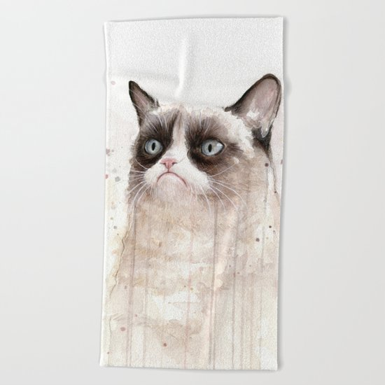 Grumpy Watercolor Cat II Beach Towel