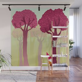 colorful forest with cute dwarf Wall Mural