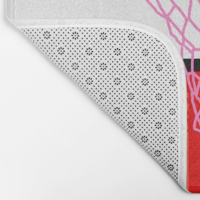 Baller - memphis retro grid neon pattern minimal basketball sports athletic art print Bath Mat