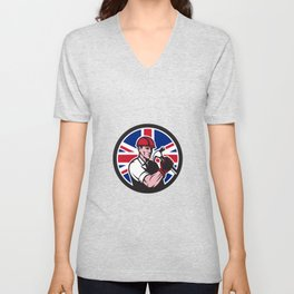 British Handyman Union Jack Flag Icon Unisex V-Neck