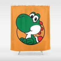 yoshi Shower Curtains featuring Yoshi by pondlifeforme