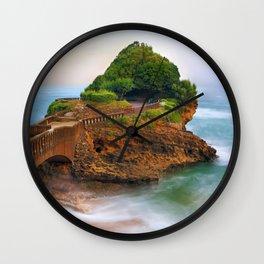 World Famous Bridge To Rocher Du Basta Rock Biarritz Beach Romantic Evening Red France Europe UHD Wall Clock