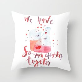 Valentines day art Chemistry Throw Pillow