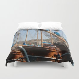 Gulets Lining The Harbour Infront of Marmaris Castle Duvet Cover