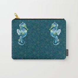 Seahorses and Tropical Fish on a background of Starfish and Shells Carry-All Pouch