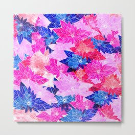 Modern navy blue pink purple watercolor floral Metal Print