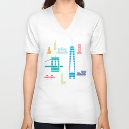 New York Skyline WTC Poster Color Unisex V-Neck