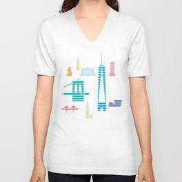 New York Skyline WTC Poster Color Unisex V-Neck
