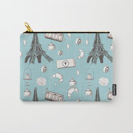 Paris Treats in Blue - Eiffel Tower, Croissants, Macaroons, Cafe, Cappuccino, Cake products Carry-All Pouch