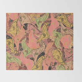 Butterfly Wings - Coral Pink Throw Blanket