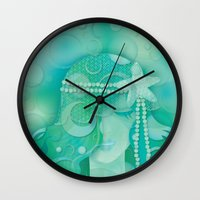 mermaid Wall Clocks featuring Ocean Queen by Graphic Tabby