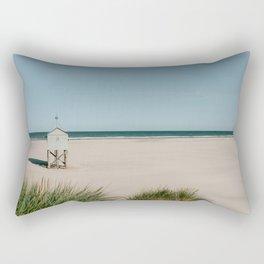 White tiny beach house || Travel Photography || Pastel color Fine art coastal sea ocean vintage Rectangular Pillow