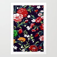 vampire weekend Art Prints featuring VAMPIRE WEEKEND FLORAL VECTOR by Danielle Ebro