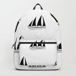 Black Sailboat Pattern Backpack