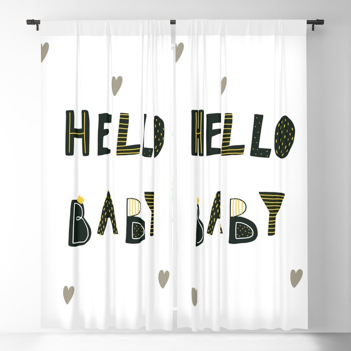 Hello Baby Cute Dinozaurus poster with hearts Blackout Curtain