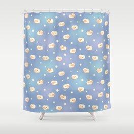 Cute Little Sheep on Blue Shower Curtain