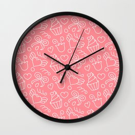 Sweet pattern with hearts, cupcakes, flowers, bows Wall Clock