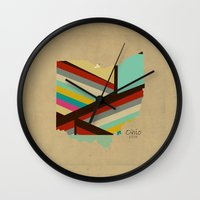 ohio state Wall Clocks featuring Ohio state map by bri.buckley