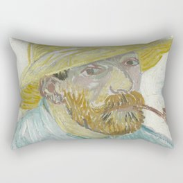 Self-Portrait with Pipe and Straw Hat Rectangular Pillow