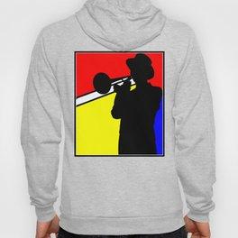 Jazz trombone player silhouette mondrian colors Hoody