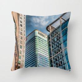 London Photography Canary Wharf HSBC Tower Throw Pillow