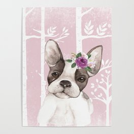 Animals in Forest - The little French Bulldog Poster